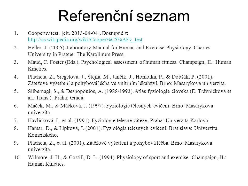 Referenční seznam Cooperův test. [cit. 2013-04-04]. Dostupné z: http://cs.wikipedia.org/wiki/Cooper%C5%AFv_test.